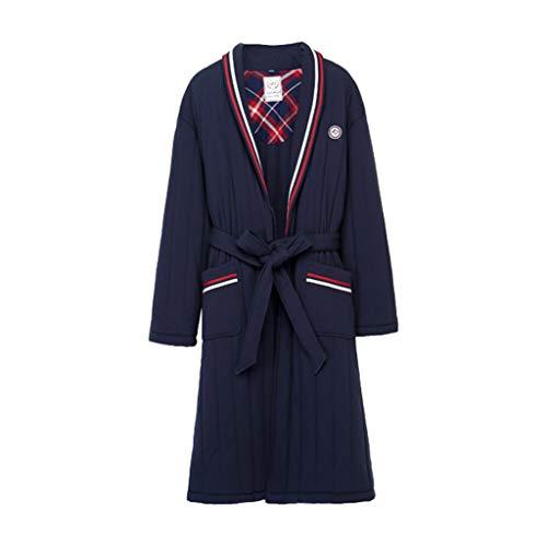 Larga Algodón Size Camisa Blue color Invierno Gruesa De Con Bata Manga Pijamas Cintura M Acolchada Blue qwtFO0Hqx