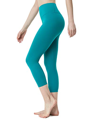 TSLA Yoga Pants 21 inches Capri High-Waist Tummy Control w Pocket, Yogabasic Aerisoft(fyc62) - Blue Green, Small (Size 6-8_Hip37-39 Inch) ()