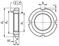 M50 x 1.5 mm KM10 Wellenmutter Nutmutter DIN981 Stahl