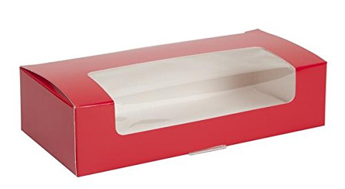 1 lb. Red Auto Bottom Candy Box w/Window - Case of 250 by TAP Packaging Solutions