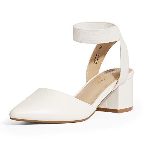 DREAM PAIRS Women's White Pu Low Block Chunky Heel