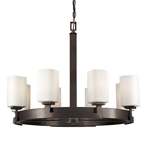(Forte Lighting 2713-08-32 Signature 8 Light 28 inch Antique Bronze Chandelier Ceiling Light)