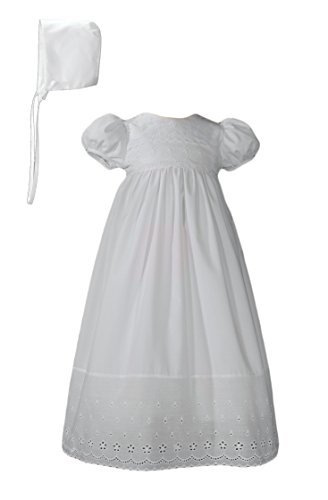 White 100% cotton  Christening Baptism Gown with Lace Border with Bonnet- 12 (Eyelet Border)