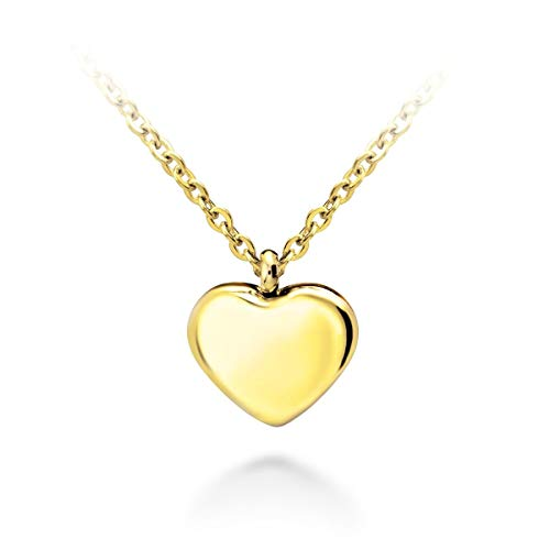 555Jewelry Womens Stainless Steel Love Cute Heart Shape Small Dainty Delicate Cable Chain Charm Shiny Gift Vintage Fashion Girls Jewelry Accessory Hanging Pendant Necklace, Yellow Gold 18 Inch -