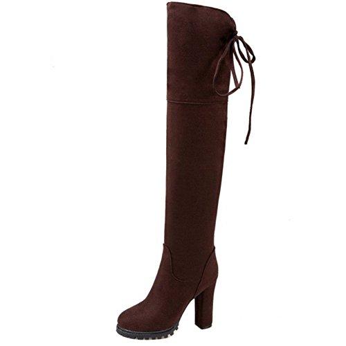 COOLCEPT Mujer Occidental Sobre Rodilla Botas Elasticas de Tacon Ancho Cremallera 31 Brown