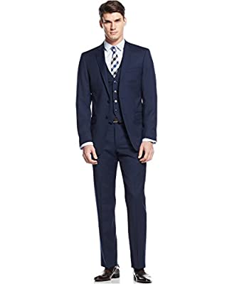Calvin Klein Slim Blue Solid Wool 2 Button Flat Front New Men's Three Piece Suit