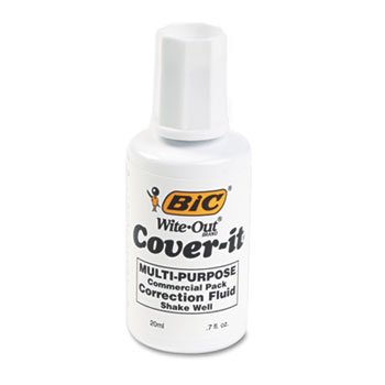 BIC WOC12WE Cover-It Correction Fluid, 20 ml Bottle, ()