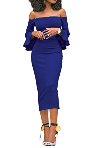 Corala Women Off Shoulder Ruffle Long Sleeve Bodycon Party Midi Dress,Blue,Large