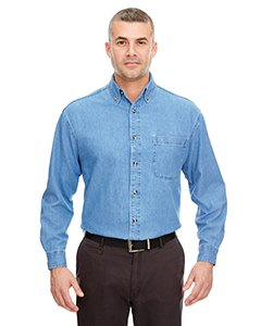 (UltraClub Men's Long-Sleeve Cypress Denim with Pocket M Light Blue)