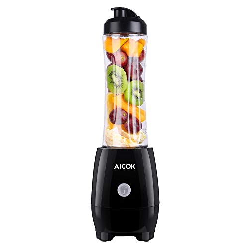 Personal Blender Aicok Smoothie Blender with Travel Portable Bottle, Electric Mini Blender Stainless Steel 4-Blade for Juice, Shakes and Baby Food, 300W