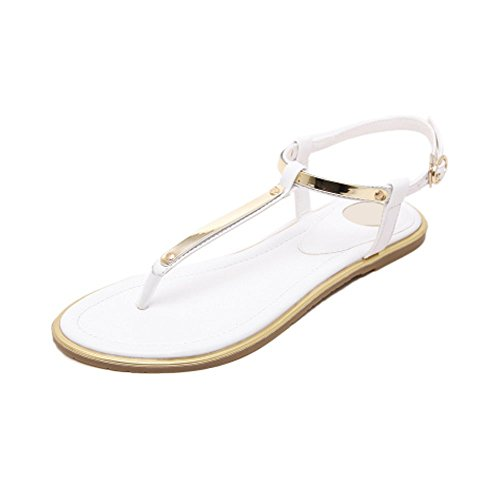 Mode Metal Blanc Tong Femme OCHENTA Sandales Plates ApxXq