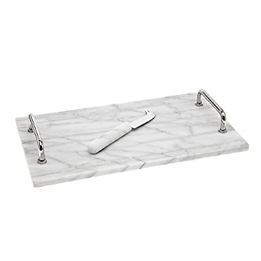 Godinger La Cucina Marble Cheese Board with Knife, 14.00L x 8.00W x 1.85H, Off-white