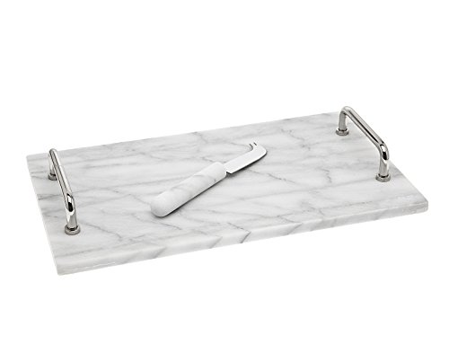 Godinger La Cucina Marble Cheese Board with Knife, 14.00L x 8.00W x 1.85H, Off-white ()