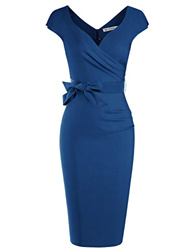 MUXXN Lady Elegant Pleated Collar Sheath Party Wedding Knee Length Dress (Navy Blue M)