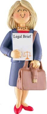 Female Blonde Lawyer Christmas Ornament product image