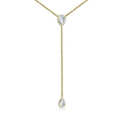 espere CZ Pear Drop Lariat Necklace 16
