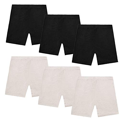 Dance Shorts Under Dress -6 Pack Girls Bike Short for Sports Black Under Skirt Shorts for Girls (4-5T) -