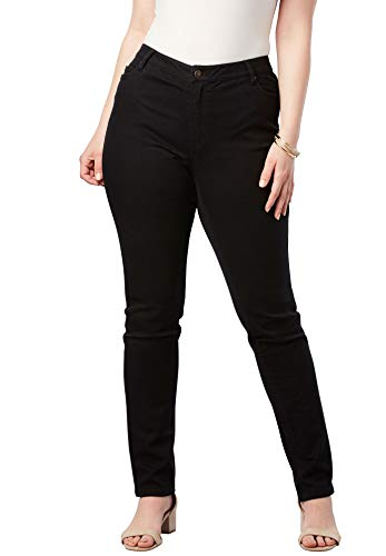 - Roamans Women's Plus Size Straight Leg Jean with Invisible Stretch - Black, 14 W