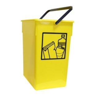 Cubo basura Reciclar 20X28X34 C//Asa amarillo