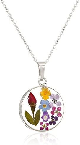 Sterling Silver Pressed Flower Round Pendant Necklace, 16″