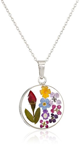 Sterling Silver Multi Pressed Flower Round Pendant Necklace, 16