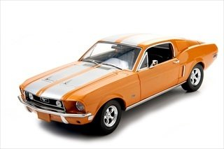 Greenlight 1968 Ford Mustang GT Fastback Orange with Silver Stripes Limited Edition 1 of 999 Produced Worldwide 1/18 Diecast Model Car