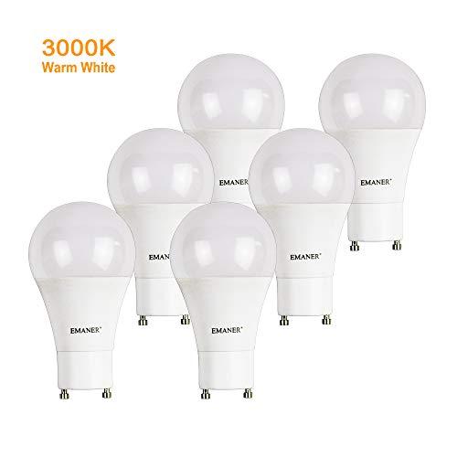 Twist Lock Accent - GU24 Bulbs, 8W LED GU24 Base Bulb Lights, A19 1100 Lumens 100W Equivalent, Twist Lock GU24 Base Light Bulb, Non Dimmable, 240 Degree Beam Angle, Pack of 6, EMANER (Warm White 3000K)