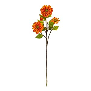 Silk Flowers -30 Inch Orange Zinnia Fake Flower-Set of 6 Artificial Flowers 8