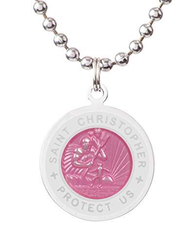 Get Back St. Christopher Surf Necklace | Medium - Pink/White