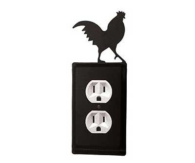 8 Inch Rooster Single Outlet Cover (Wrought Rooster Iron)
