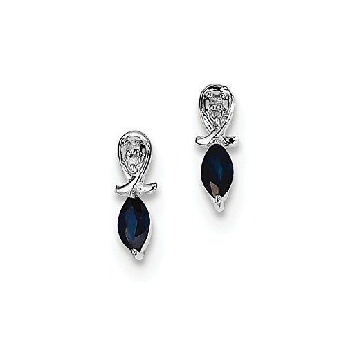 .925 Sterling Silver Genuine Diamond And sapphire Marquise Post Stud Earrings (0.02 CTTW, I-J Color, I2 Clarity) (Genuine Marquise Sapphire Ring)