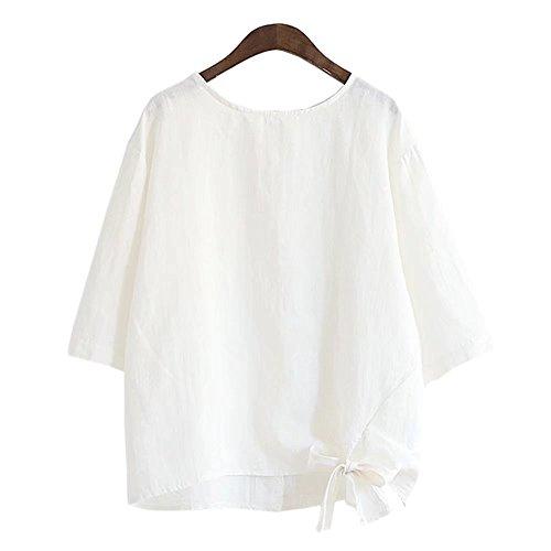 適用する半球成功したユウエ Tシャツ レディース 半袖 丸首 トップス 綿麻Tシャツ ブラウス 018-lzfs-303-1822(F ホワイト )