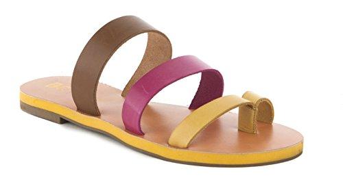 BC Footwear Women's Peanut Slide Sandal, Yellow/Fuchsia/Gold, 8 M (Yellow Gold Footwear)