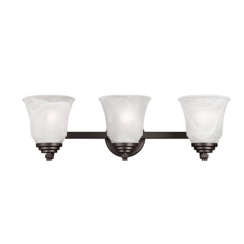 (Westinghouse Lighting 6622000 Wensley Three-Light Interior Wall Fixture, Oil Rubbed Bronze Finish with White Alabaster Glass)