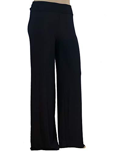 Stylzoo Women's Premium Modal Softest Ever Palazzo Solid Stretch Pants Black Supermodel ()