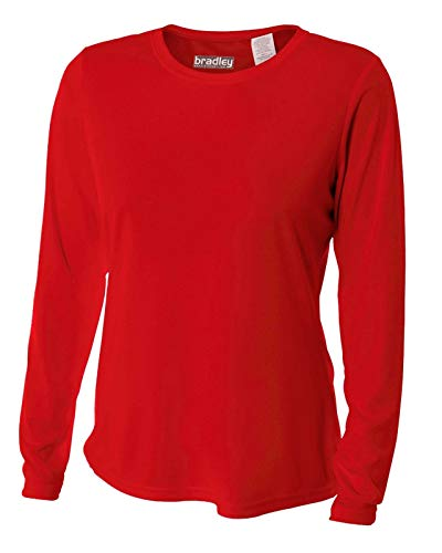 Bradley Women's Casual Fit Long Sleeve Rash Guard Swim Shirt with UV Protection (Red Rash Guard)