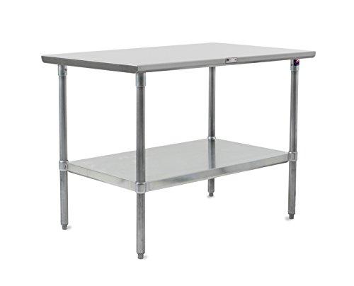 John Boos Stallion mesa de trabajo de acero inoxidable con estante inferior, piernas, con parte superior plana galvanizado ajustable, Acero inoxidabl