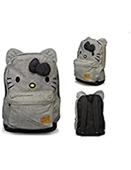 Hello Kitty Canvas Backpack Bag w/ Bow & Ears (Black & White Stripe)