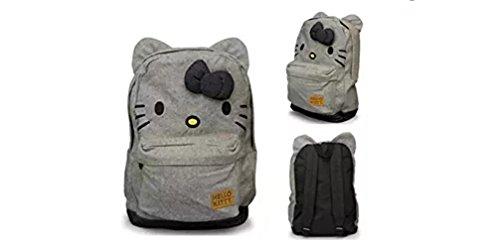 Hello Kitty Canvas Backpack Bag w/ Bow & Ears (Black & White Stripe) ()
