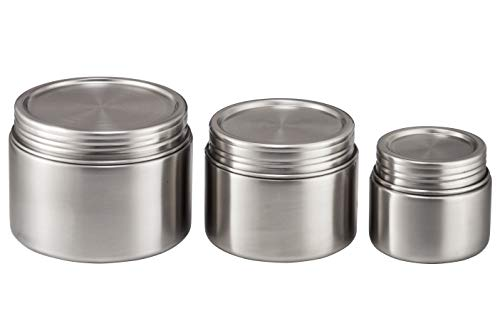 Stainless Steel Food Storage Containers - Set of 3 (8 oz, 16 oz, 24 oz) - Airtight, Leak-Proof Food Jar for Baby Food, Lunch, Yogurt, Snacks, and Sides - Eco-Friendly, Dishwasher Safe (Stainless Jar Food)