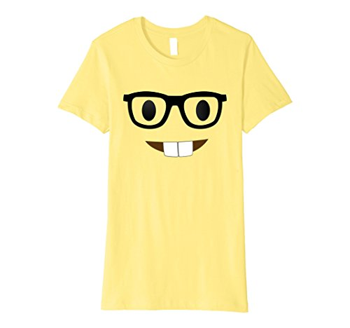 Nerd Costume Ideas (Womens Nerd Emoji Face Costume T-Shirt for Halloween Group Nerdy Small Lemon)