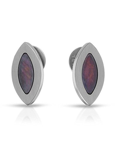 (Teno Stainless Steel Mother Of Pearl Earrings For Women. Length 13 mm. )