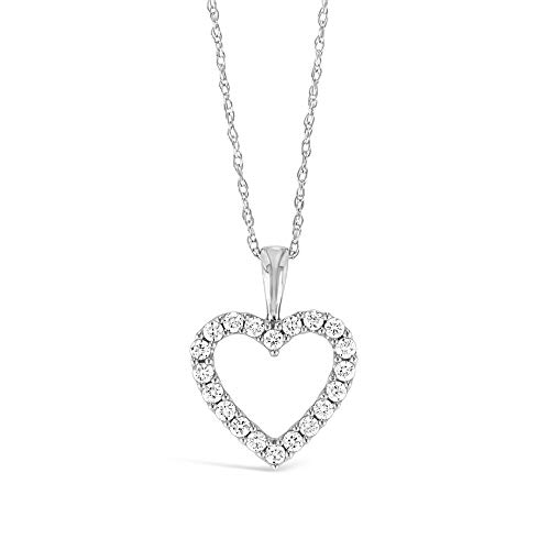 Brilliant Expressions 10K White Gold 1/4 Cttw Conflict Free Diamond Open Heart Pendant Necklace (I-J Color, I2-I3 Clarity), Adjustable Chain 16-18 inch