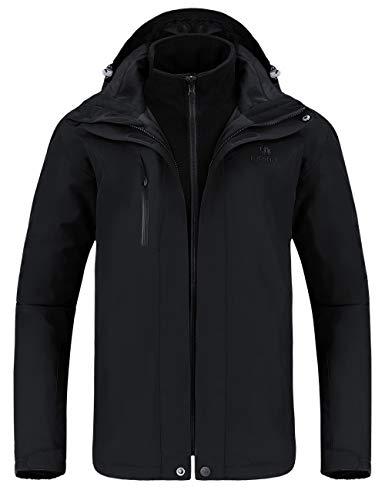 Kerrian Online Fashions 314MUEBxPIL CAMEL Outdoor Jacket Men Winter Ski Jacket Windbreaker 3 in1 Hooded Rain Coat for Traveling Climbing Hiking 2.0