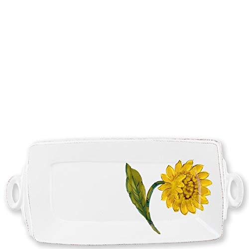Vietri Lastra Sunflower Handled Rectangular Platter