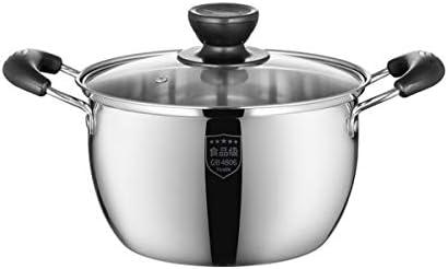 ステンレス鋼スープポット汽船ポットスープポット小さな鍋ホームバイノーラルポットガスミルクポット電磁調理器専用、高品質、最高の贈り物 (Color : Silver, Size : 18cm-A)