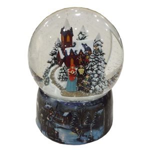 Musicbox Kingdom Porcelain Snow Globe with a Winter Church Scene with a Singing Family with a Christmas Tune is Played Decorative Item