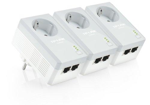 TP-Link TL-PA4020PT KIT AV500 Powerline-Netzwerkadapter (500Mbit/s, integrierte Steckdose, 2-Port, kompatibel mit Adaptern anderer Marken) 3-er Set