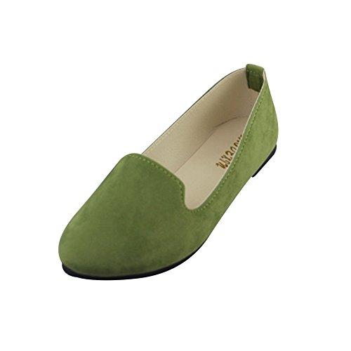 Verde Mujer Sintética Chic Ejercito Elegante Color Bailarinas Piel Primo Básicas del y Moda 7xAT7wr