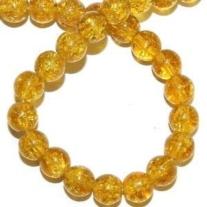 - Steven_store G1581 Golden Yellow 8mm Round Crackle Glass Beads 14